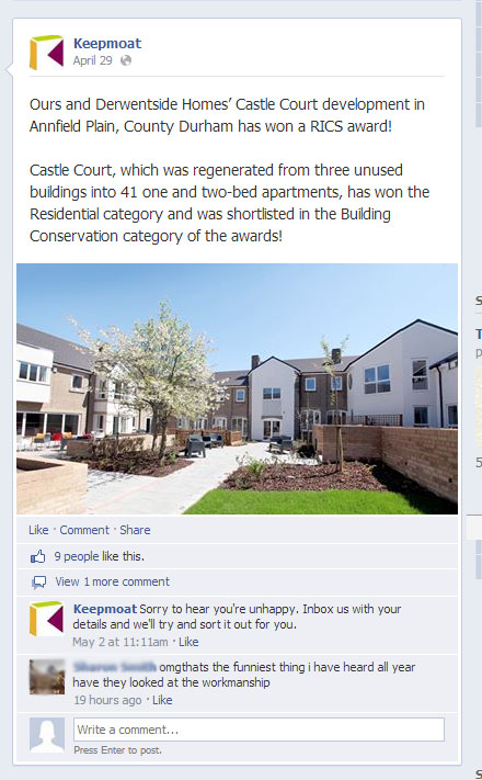 FACEBOOK Complaint about workmanship in reference to award given 15052014