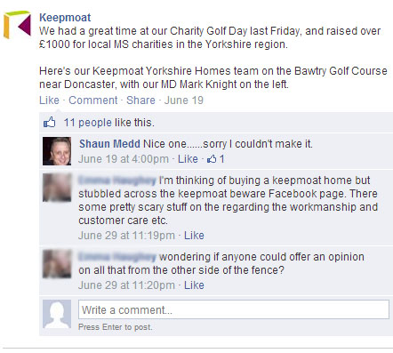 Facebook 11072014 - Asking about complaints made on Keepmoat Beware