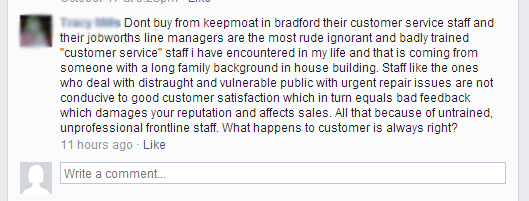 Rude and ignorant staff Keepmoat staff