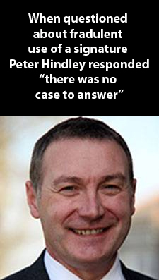 Peter Hindley - Forging customers' signatures is OK by me.